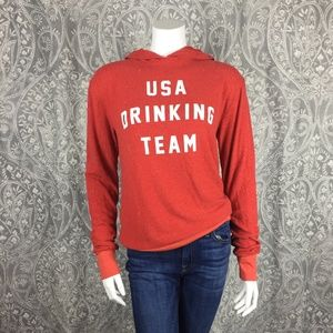 NWOT Wildfox USA Drinking Team Red Hoodie Small